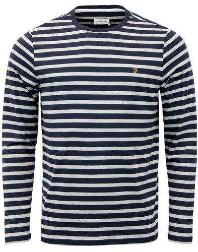 farah lennox retro 1960s mod stripe t-shirt navy