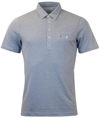 FARAH TENNYSON RETRO MOD MARL POCKET POLO BLUE