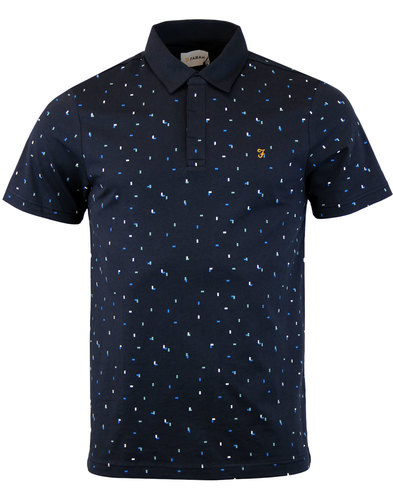 farah jude retro 60s mod mini block print polo top