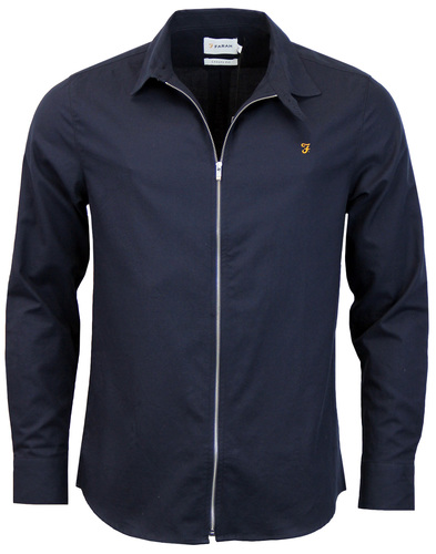 farah roscoe zip up shirt navy