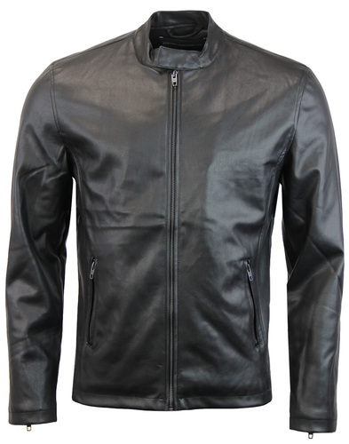French connection leather biker jacket black