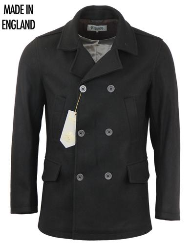 FERGUSON RETRO MOD PEACOAT REEFER COAT BLACK