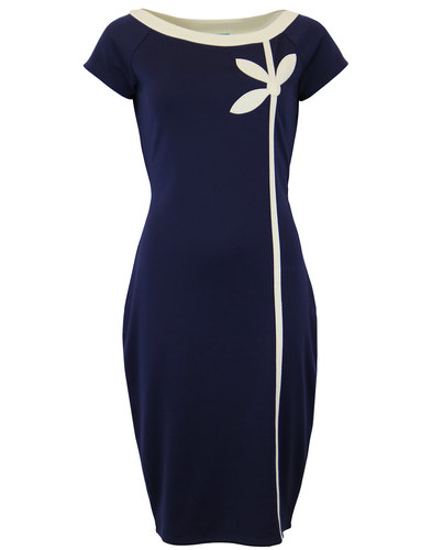 fever matera retro 1960s mod cap sleeve dress navy