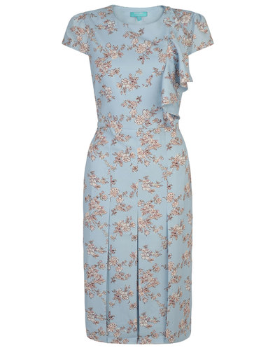 Megan FEVER Retro 50s Vintage Floral Ruffle Dress
