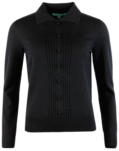 fever oona retro 1960s mod knit polo jumper black