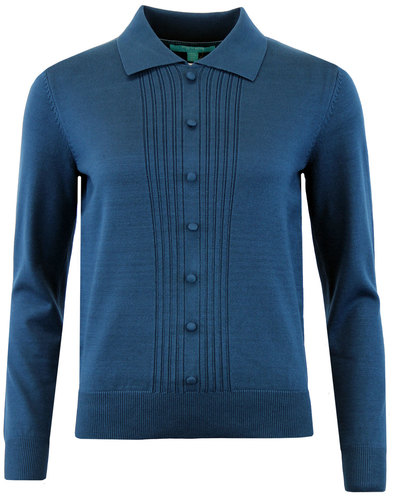 fever oona retro 1960s mod knit polo jumper petrol