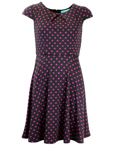 FEVER DRESSES RETRO MOD 60S POLKA DOT DRESS BLACK