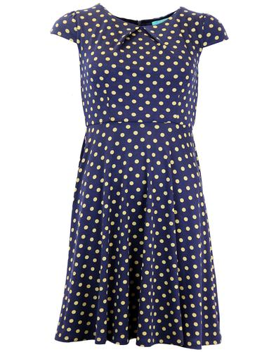 FEVER DRESSES RETRO MOD 60S POLKA DOT DRESS NAVY