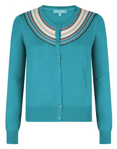 Cuba FEVER Retro 60s Embroidered Trim Cardigan (G)