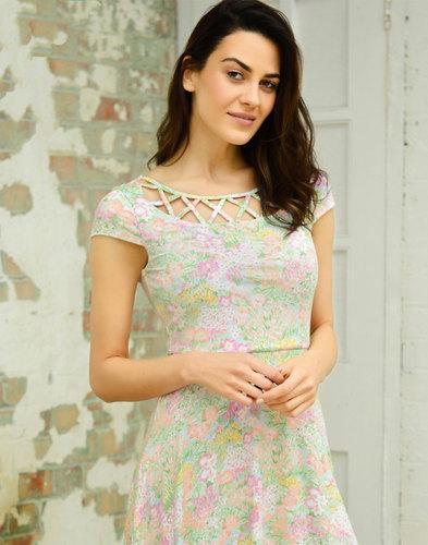 Frances FEVER Vintage Floral Cut Out Flare Dress