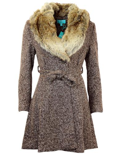 FEVER RETRO MOD VINTAGE FAUX FUR COLLAR TWEED COAT