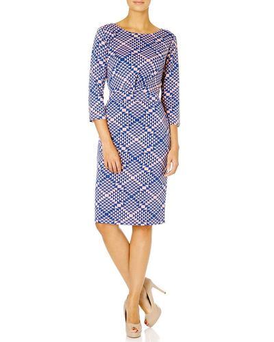 FEVER DRESSES RETRO MOD 60S GEOMETRIC DRESS PINK