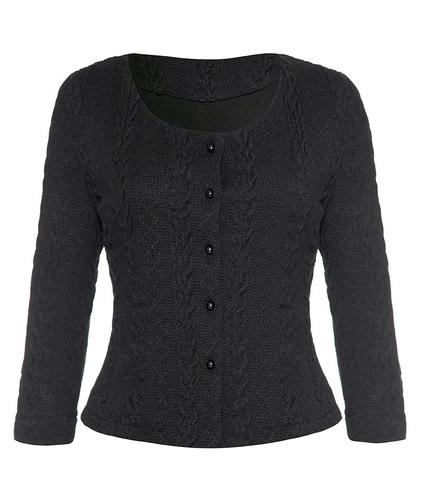 FEVER LONDON RETRO VINTAGE CABLE CARDIGAN BLACK