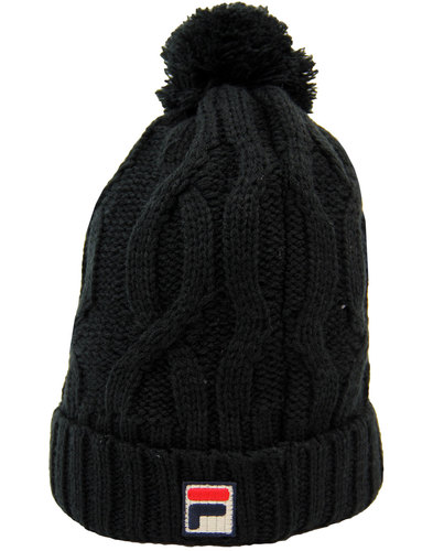 fila vintage calapai retro 1970s bobble hat black