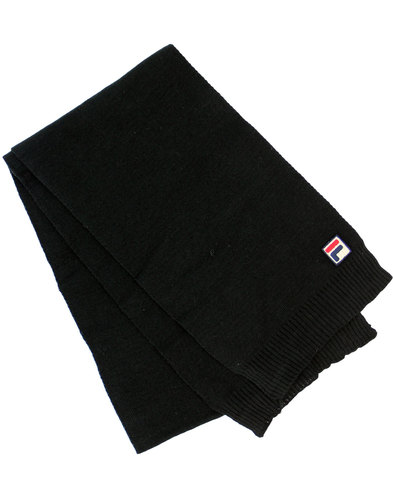 fila vintage righi retro 1970s knit scarf black