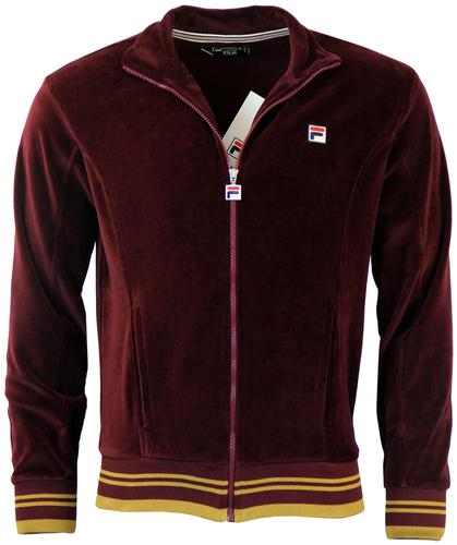FILA VINTAGE BARTALI RETRO VELOUR TRACK TOP BORDO