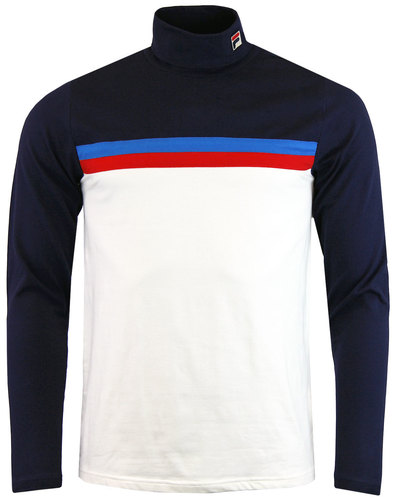 fila vintage bormio retro 70s roll neck stripe top