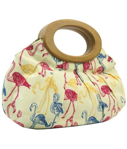 collectif tiki flamingo retro 1950s clutch bag