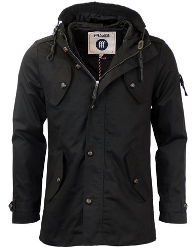 FLY53 BURTON RETRO INDIE MOD FISHTAIL PARKA BLACK