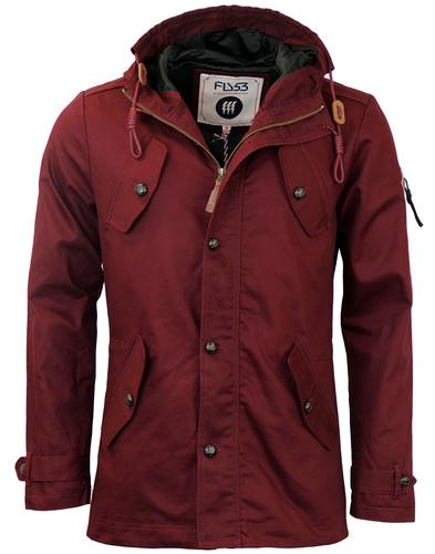 FLY53 BURTON RETRO 60s MOD FISHTAIL PARKA OXBLOOD