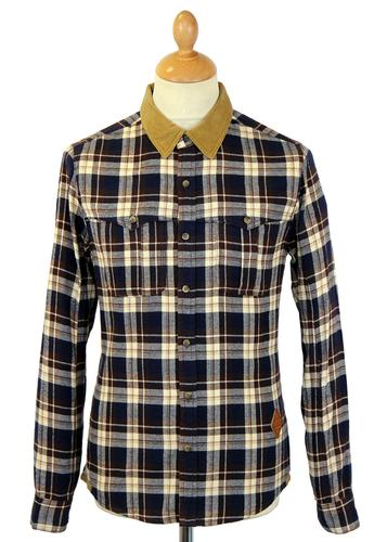 FLY53 FLY 53 RETRO INDIE CORD COLLAR CHECK SHIRT