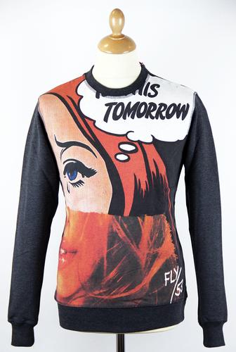 Warhell FLY53 Retro Indie Pop Art Graphic Sweater
