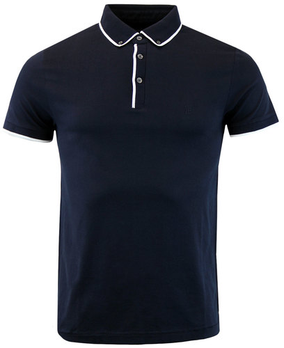 french connection retro mod button down golf polo