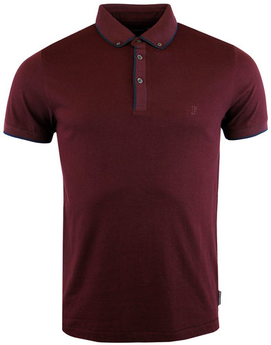 french connection 1960s mod tipped golf polo bordo