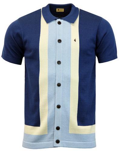 Angelo GABICCI VINTAGE Mod Stripe Polo Cardigan O