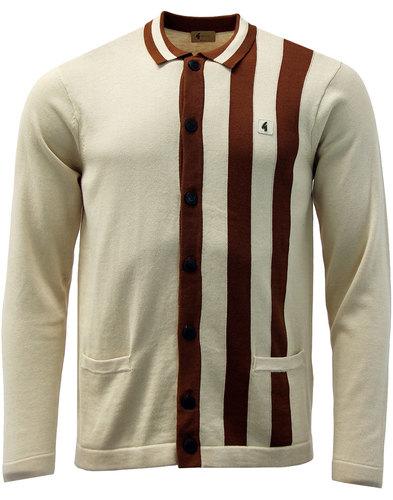 Boom GABICCI VINTAGE Mod Stripe Polo Cardigan OAT