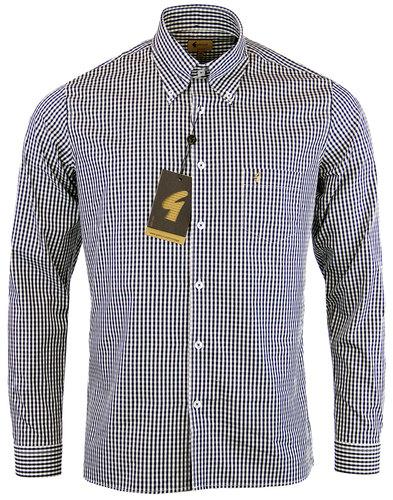 gabicci vintage 60s mod gingham check shirt black