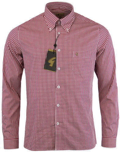 gabicci vintage retro mod gingham check shirt red