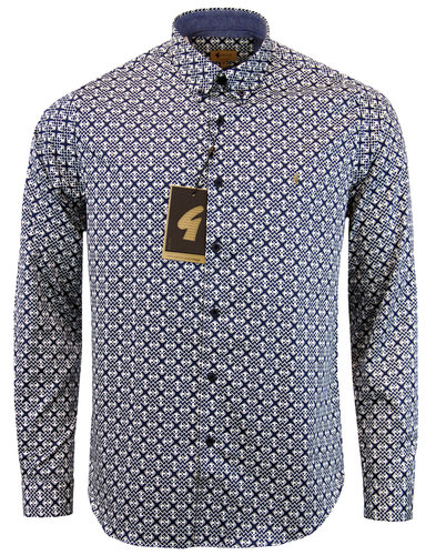 gabicci vintage retro 60s mod lattice print shirt