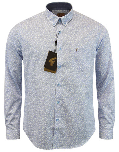 gabicci vintage retro monotone paisley shirt blue