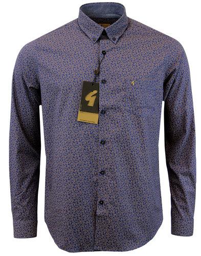 gabicci vintage retro monotone paisley shirt navy