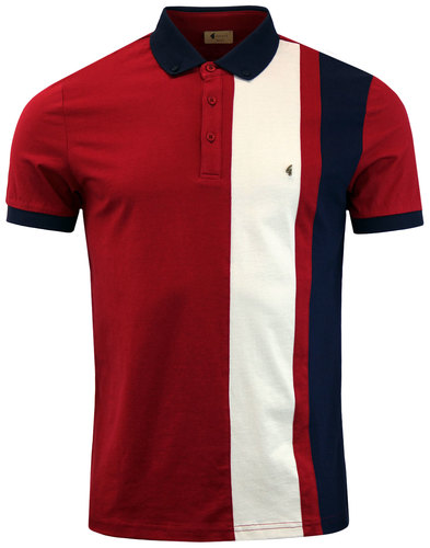 gabicci vintage retro 60s mod side stripe polo red