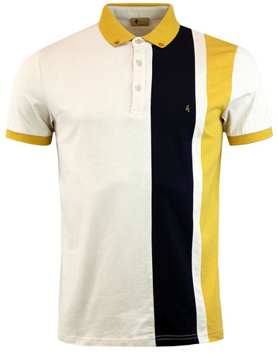 gabicci vintage retro 60s mod side stripe polo oat