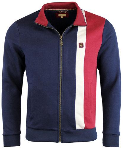 gabicci vintage retro 70s stripe track jacket navy