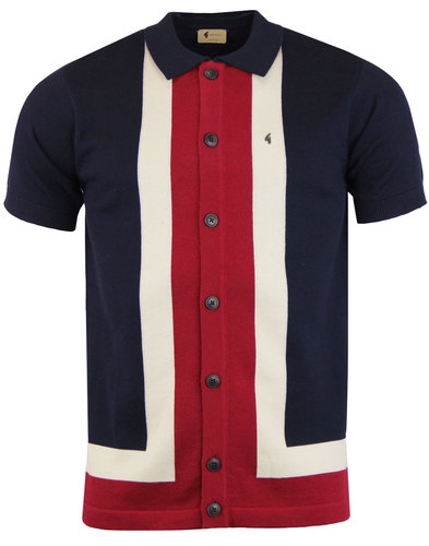Angelo GABICCI VINTAGE Mod Stripe Polo Cardigan N