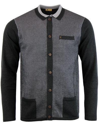 gabicci vintage 60s mod 2-tone check cardigan grey