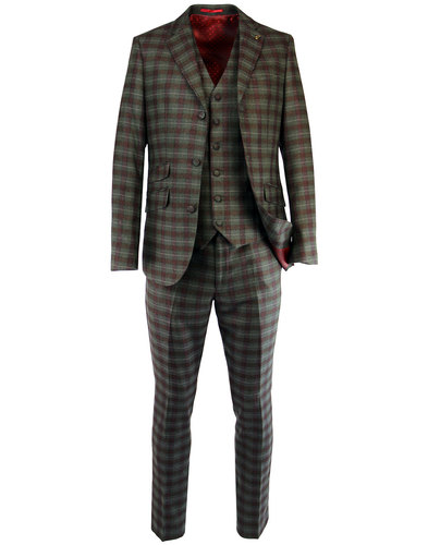 gabicci vintage retro mod check 3 button suit