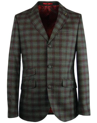 GABICCI VINTAGE 60s Mod 3 Button Check Suit Jacket