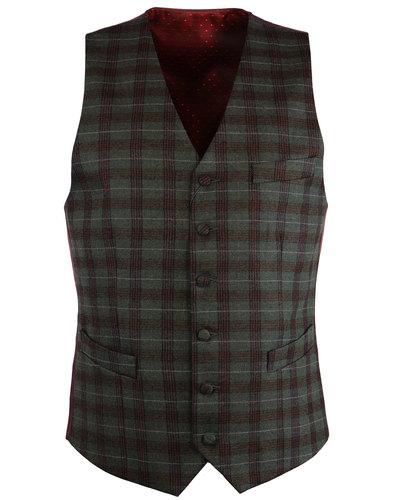 gabicci vintage retro 1960s mod check waistcoat