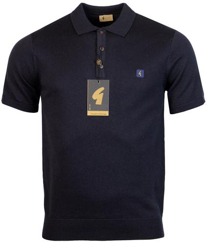 gabicci vintage retro 1960s mod knitted polo navy