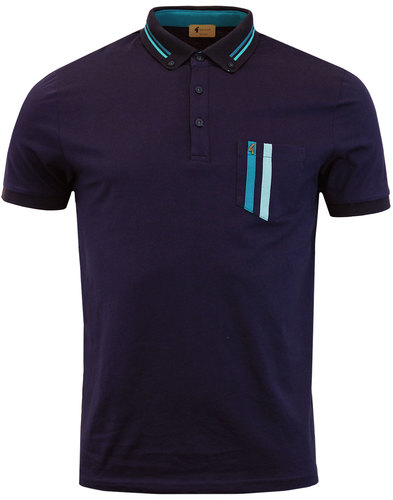 Dane GABICCI VINTAGE Retro Mod Stripe Pocket Polo