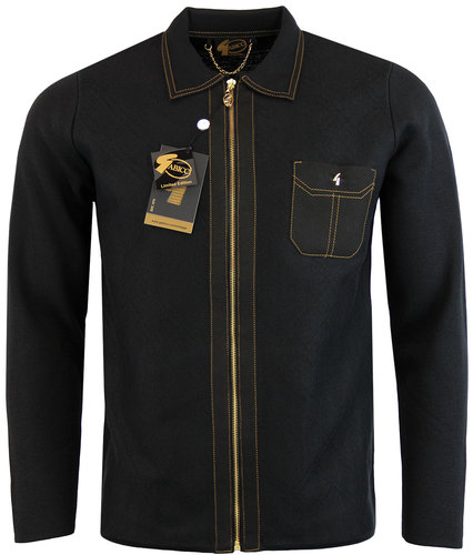 gabicci vintage retro mod zip polo cardigan black