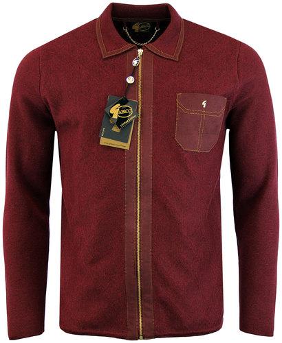 gabicci vintage 70s mod zip polo cardigan mulberry