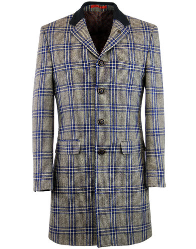 gibson london winnie 60s mod blue check dress coat