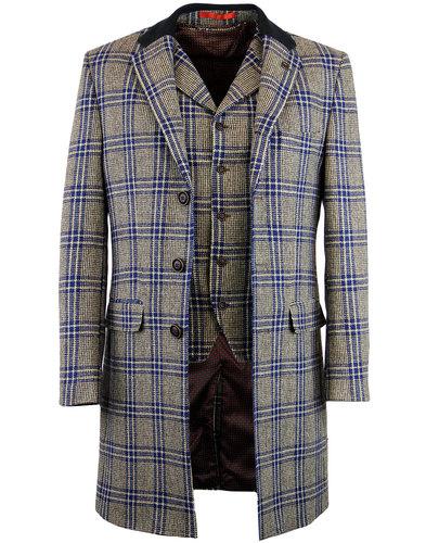 gibson london winnie 60s mod blue check dress coat