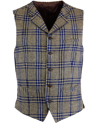 GIBSON LONDON Mod POW Check High Fasten Waistcoat